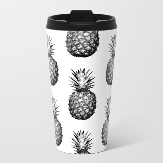 Black & White Pineapple Metal Travel Mug