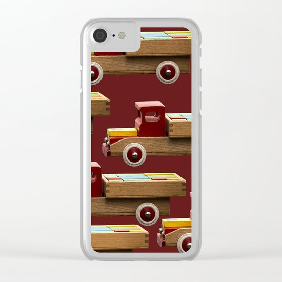 Vintage wooden toy truck Clear iPhone Case