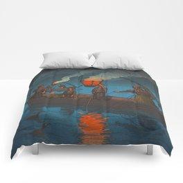 Beautiful Vintage Japanese Woodblock Print Japanese Fisherman Flame Torch Comforters