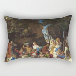 """Giovanni Bellini and Titian """"The Feast of the Gods"""" Rectangular Pillow"""