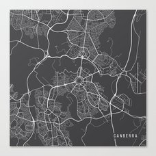 canberra map australia gray map canvas print