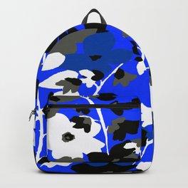 SUNFLOWER TRELLIS BLUE BLACK GRAY AND WHITE TOILE Backpack