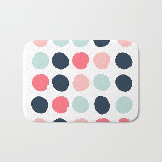 Dots painted coral mint navy pink pattern dotted polka dot minimalist Bath Mat