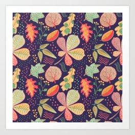 Yellow Leaves On Purple Crayon Drawing, Vibrant Autumn Pattern Art Print