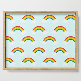 Bright Rainbow with Clouds Serving Tray