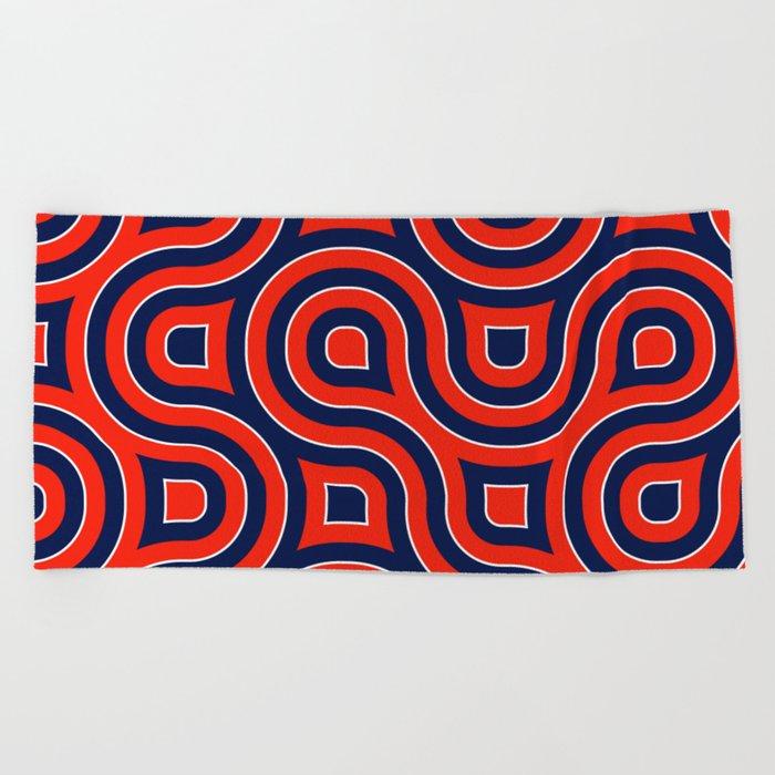 Red Deep blue spirale Beach Towel