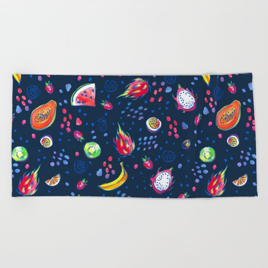 Tropical fruits pattern Beach Towel