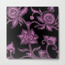 Vintage Floral Bodacious and Black Metal Print
