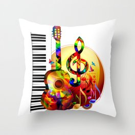 Colorful  music instruments painting, guitar, treble clef, piano, musical notes, flying birds Throw Pillow