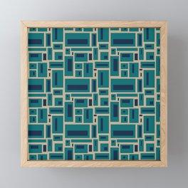 Geometric Rectangles in Navy, Teal and Tan 2 Framed Mini Art Print