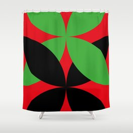 Two four-leaf clovers hugging in a beautiful deep red space. How lucky! Shower Curtain