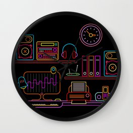 Workplace Neon vector illustration Wall Clock