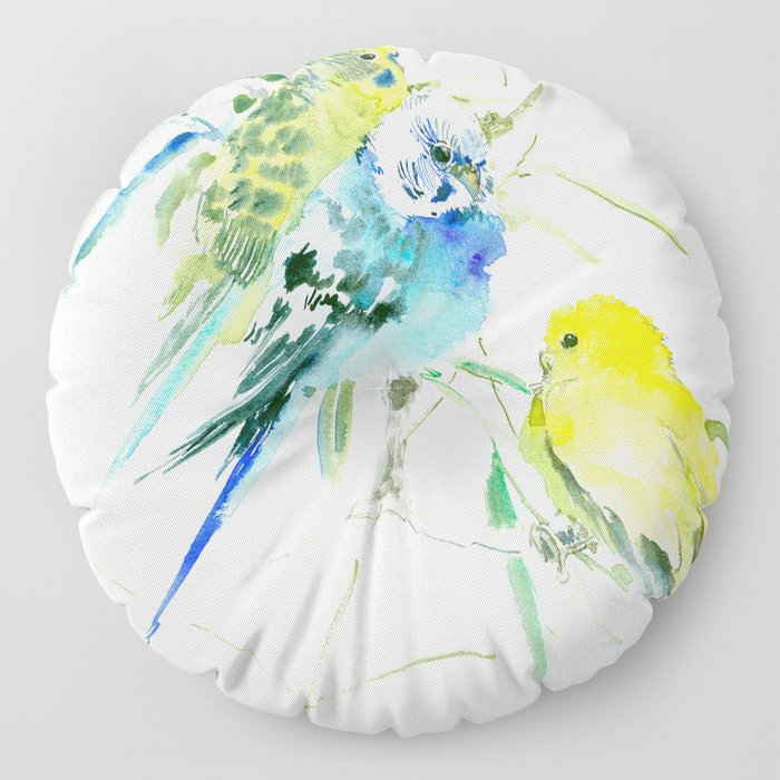 Parakeets green yellow blue bird decor Floor Pillow