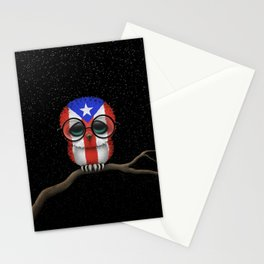 Baby Owl with Glasses and Puerto Rican Flag Stationery Cards