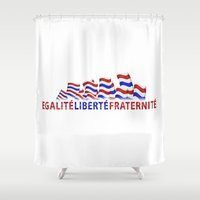 bastille Shower Curtains featuring Bastille Day by DFLC Prints