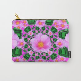 May Babies Emerald Gems & Pink Roses Carry-All Pouch
