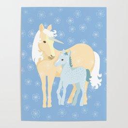 Unicorns. Mom and baby Poster