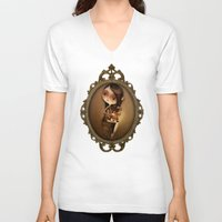 cage V-neck T-shirts featuring Gold Cage by José Luis Guerrero