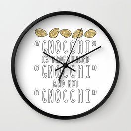 Funny Gnocchi Italian Pasta Foodie Gift For Chefs Wall Clock