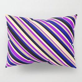 Eyecatching Beige, Dark Violet, Tan, Dark Blue & Black Colored Stripes/Lines Pattern Pillow Sham
