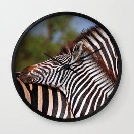 Zebra love, Africa wildlife Wall Clock