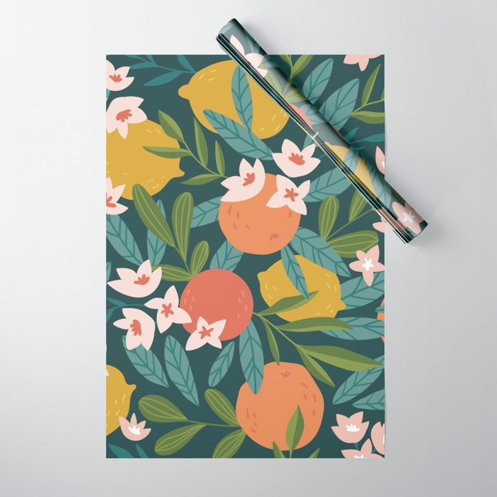 Lemon Orange Citrus Blossoms Floral Seamless Pattern Wrapping Paper