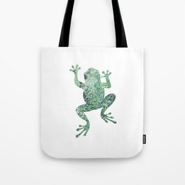 green lichen crawling frog silhouette Tote Bag