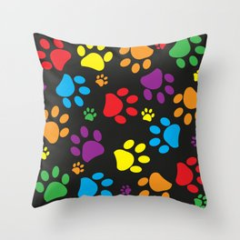 Colorful paw print black background Throw Pillow