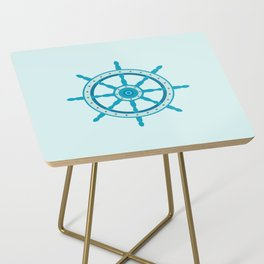 AFE Ship Wheel Teal, Nautical Art Print Side Table