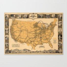 Greyhound Bus Line Map 1935 Canvas Print