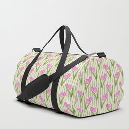 Retro. Pink tulips on a green striped background . Duffle Bag