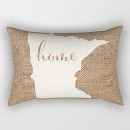 Minnesota is Home - White on Burlap Rectangular Pillow
