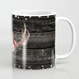 Glam Boho Chic Floral Antlers & Rustic Wood Coffee Mug