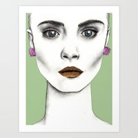cara Art Prints featuring Cara by Vicky Ink.
