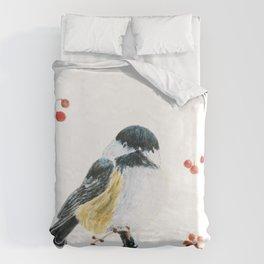 Christmas Chickadee by Teresa Thompson Duvet Cover