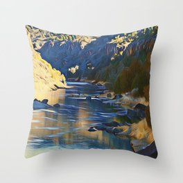Rio Grande at the John Dunn Bridge on a Winters Day by CheyAnne Sexton Throw Pillow