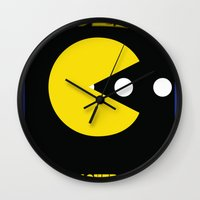 pac man Wall Clocks featuring pac-man by CJones5105