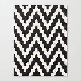 Black & White Geometric Pattern Funky Chevron Wiggle Tribal Style Canvas Print