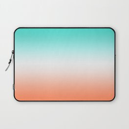 Turquoise White and Coral Ombre Laptop Sleeve
