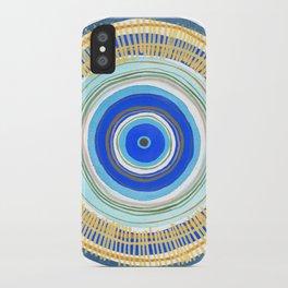 Turquoise Evil Eye Mandala iPhone Case