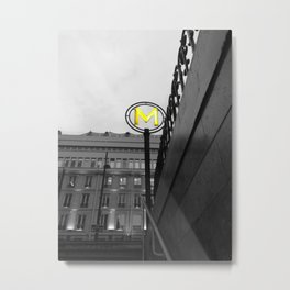 Paris metro black and white with color GOLD Metal Print