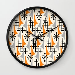 Mid Century Modern Atomic Wing Composition Orange & Gray Wall Clock