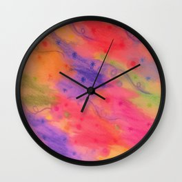 SEEING STARS 3 - Peach Pink Pretty Starry Sky Abstract Watercolor Painting Lovely Feminine Pattern Wall Clock