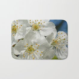 White Cherry Blossoms 01, Spring Bath Mat