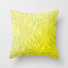 neon yellow ombre cotton crochet Throw Pillow