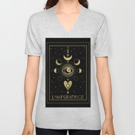 L' Imperatrice or The Empress Tarot Gold Unisex V-Neck