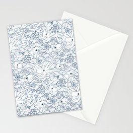 Cephalopods: White and Blue Stationery Cards