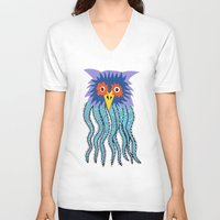 cthulu V-neck T-shirts featuring the owl of cthulu by ronnie mcneil