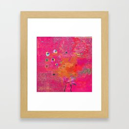 Hot Pink & Orange Abstract Art Collage Framed Art Print