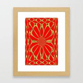 Modernistic Red-Gold Metallic Floral Web Art Design Framed Art Print